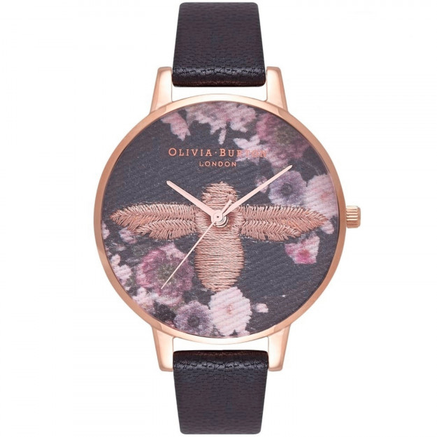 Olivia Burton Embroidered Dial Black and Rose Gold-36