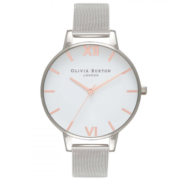 Olivia Burton White Dial Rose Gold and Silver Mesh-30