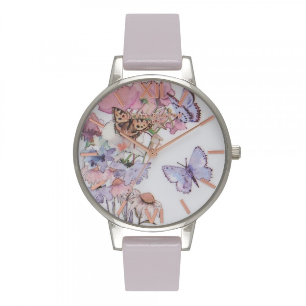 Olivia Burton Painterly Prints Butterfly Grey Lilac, Silver and Rose Gold-30