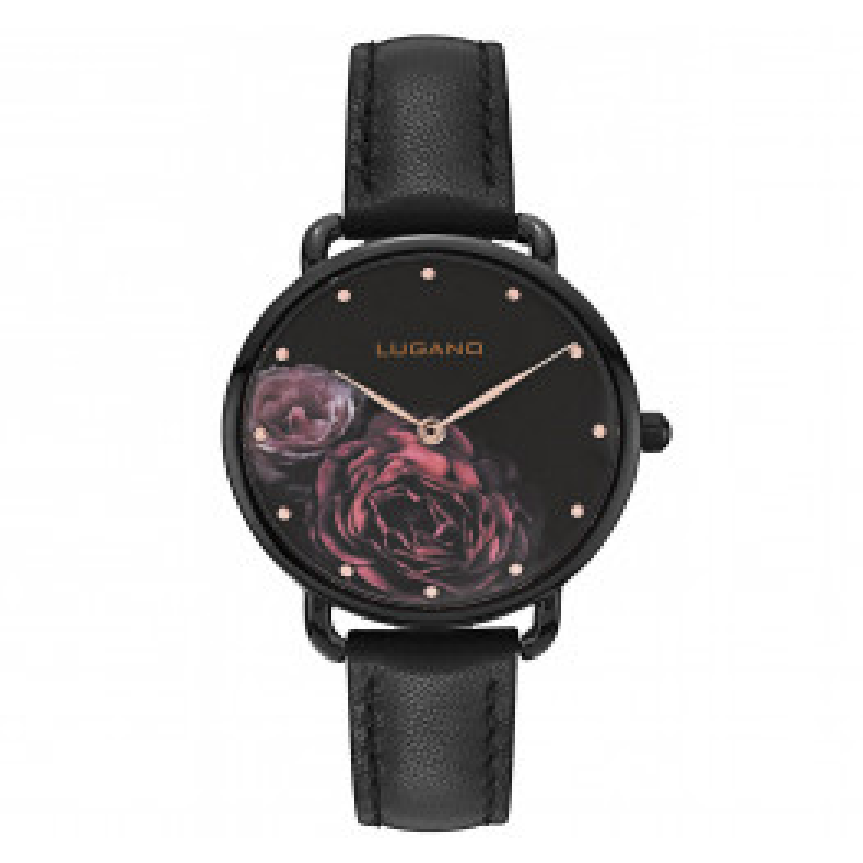 Lugano Black Leather Floral-036