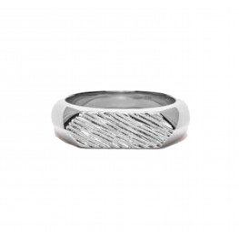 Frederik IX Studio Mini Brushed Hexagon Ring Silver-03