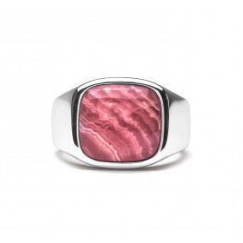 Frederik IX Studios Cushion Signet Ring Rhodocrosite sølv-015